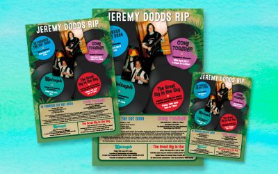 Posters advertising Jeremy's Funeral Events