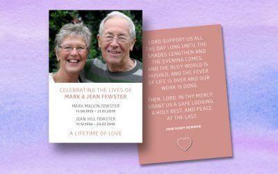 An Emotional Prayer Card for Mark & Jean